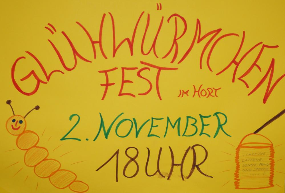 Plakat zum Glühwürmchenfest des Hort Buchenberg in Bad Doberan