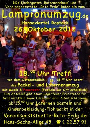 Ankündigung Fackel- und Laternenumzug im Rostocker Hansaviertel 2012